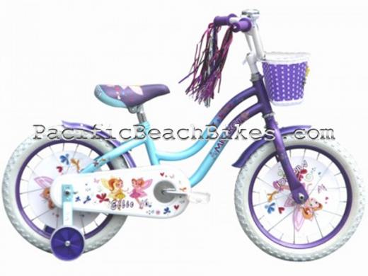 """Micargi 16"""" Ellie Baby Blue and Violet kids bicycle beach cruiser"""