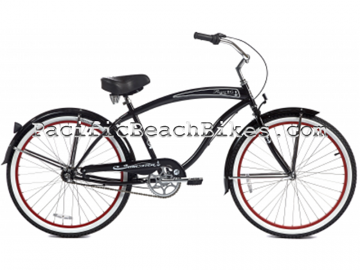 Gloss Black w Red Rims Men's NX3 3 Speed Rover Beach Cruiser Micargi Bicycles