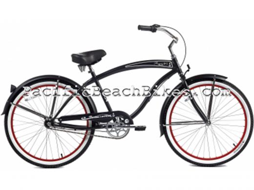 Matte Black Men's NX3 3 Speed Rover Beach Cruiser Micargi Bicycles