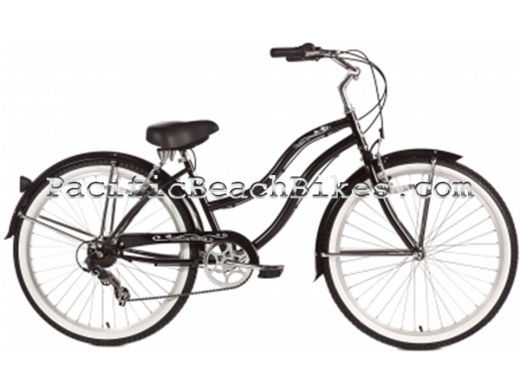 Womens Pantera 7 Speed Beach Cruiser Black Micargi Bicycles