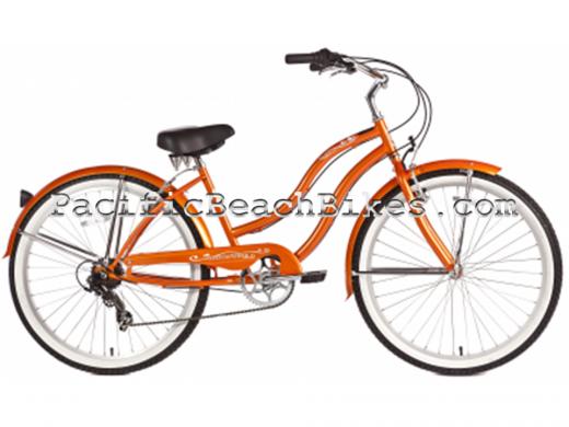 Womens Pantera 7 Speed Beach Cruiser Orange Micargi Bicycles