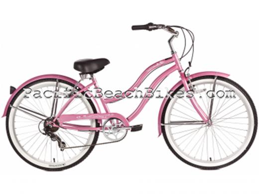 Womens Pantera 7 Speed Beach Cruiser Pink Micargi Bicycles