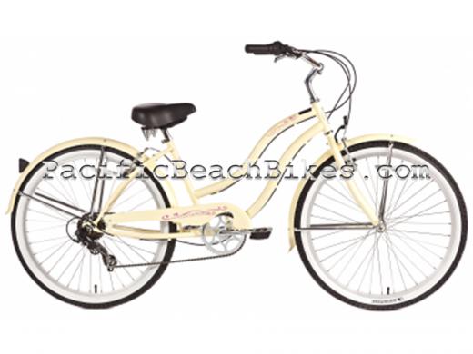 Womens Pantera 7 Speed Beach Cruiser Vanilla Micargi Bicycles