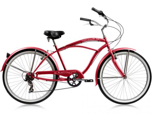 """Mens Red Pantera 7 Speed Beach Cruiser """"Micargi Bicycles"""""""