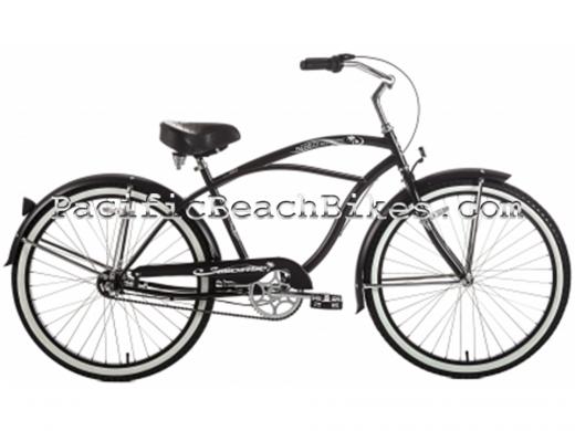 Men's Matte Black Tahiti NX3 3 Speed Beach Cruiser Micargi Bicycles
