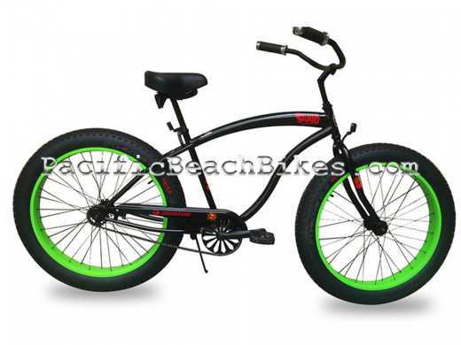 Micargi Slugo Fat Tire Beach Cruiser Matte Black with Green Rims