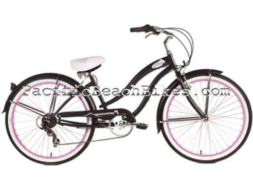 Micargi Matte Black Pink 26 inch 7 Speed Rover Beach Cruiser