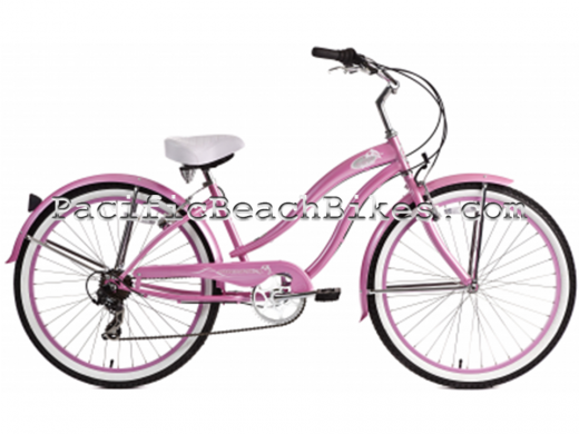 Micargi Pink 26 inch 7 Speed Rover Beach Cruiser