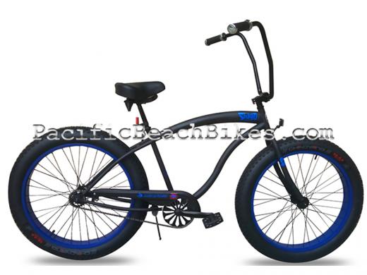Slugo Matte Black w Blue Rims Ape Hanger Fat Tire Beach Cruiser Micargi Bicycles