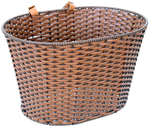 Synthetic Rattan basket with Straps Brown