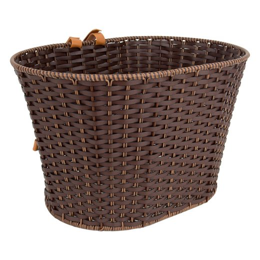 Synthetic Rattan basket with Straps Mahogany