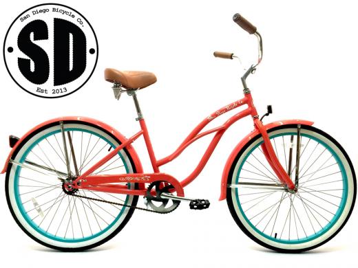 "Ladies Garnet - Coral w Celeste Rims ""San Diego Bicycle Co."""