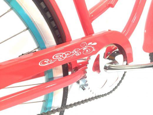 "Ladies Garnet – Coral w Celeste Rims ""San Diego Bicycle Co."""