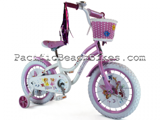 """Micargi 16"""" Ellie Pink & White kids bicycle beach cruiser"""