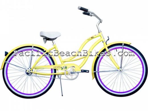 Tahiti Yellow w Purple Rims Beach Cruiser Micargi Bicycles
