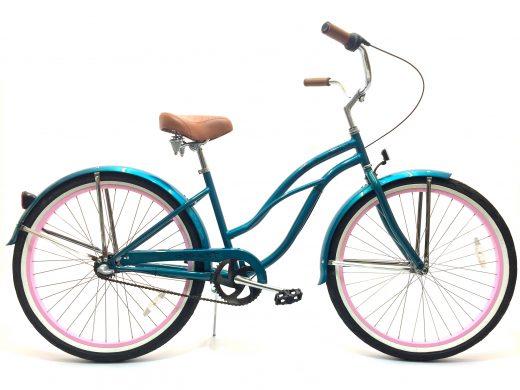 "Ladies Garnet 3 Speed Turquoise w Light Pink Rims ""San Diego Bicycle Co."""