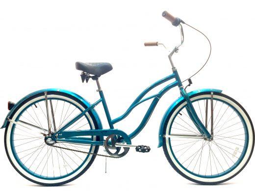 "Ladies Garnet 3 Speed Turquoise w Turquoise Rims ""San Diego Bicycle Co."""