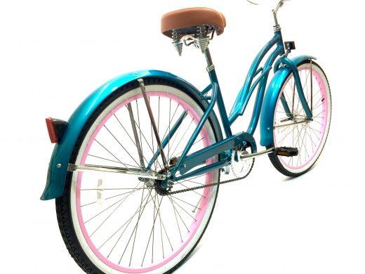"Ladies Garnet - Turquoise w Light Pink Rims ""San Diego Bicycle Co."""