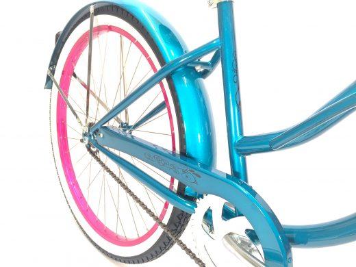 "Ladies Garnet - Turquoise w Hot Pink Rims ""San Diego Bicycle Co."""