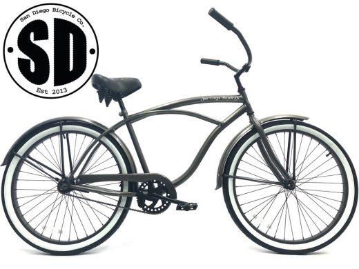 "Men's Garnet Glossy Grey white walls ""San Diego Bicycle Co."""