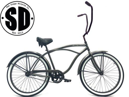 "Men's Garnet Glossy Grey white wall Chopper ""San Diego Bicycle Co."""