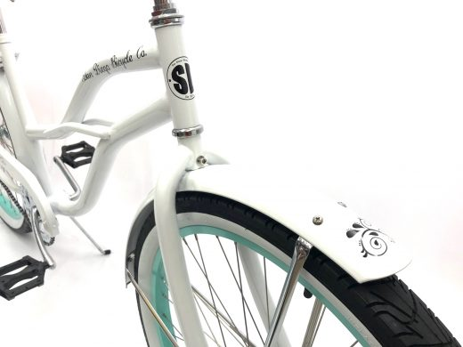 """Ladies Garnet - Pearl White with Sea Glass Rims """"San Diego Bicycle Co."""""""