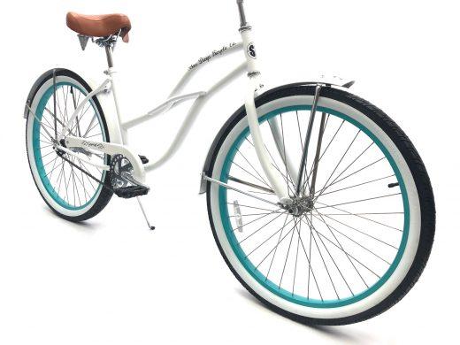 """Ladies Garnet - Pearl White w Celeste Rims """"San Diego Bicycle Co."""""""