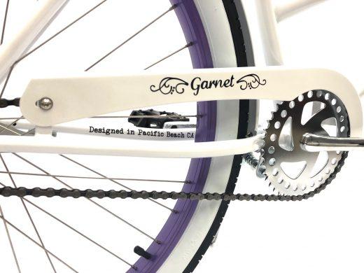 "Ladies Garnet - Pearl White with Purple Rims ""San Diego Bicycle Co."""
