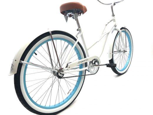 "Ladies Garnet - Pearl White w Baby Blue Rims ""San Diego Bicycle Co."""