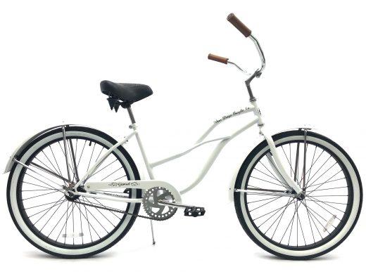 "Ladies Garnet - Pearl White with Black Rims ""San Diego Bicycle Co."""