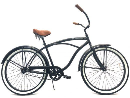 """Men's Garnet Matte Black White Walls w Brown """"San Diego Bicycle Co."""""""