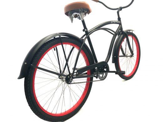 "Men's Garnet Matte Black w Red Rims w Brown ""San Diego Bicycle Co."""
