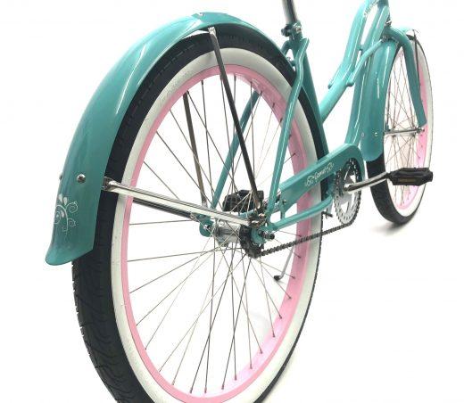"Ladies Garnet – Celeste with Light Pink Rims ""San Diego Bicycle Co."" Beach Cruiser"