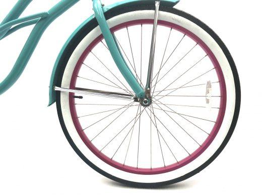 "Ladies Garnet - Celeste w Hot Pink Rims ""San Diego Bicycle Co."" Beach Cruiser"