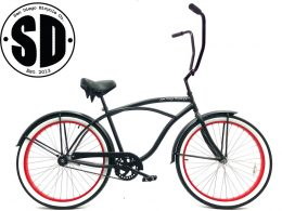 "Men's Garnet Chopper Matte Black w Red Rims Beach Cruiser ""San Diego Bicycle Co."""