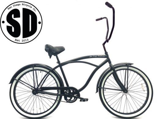 """Men's Garnet Chopper Matte Black w White Walls """"San Diego Bicycle Co."""""""