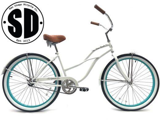 """Ladies Garnet - Pearl White w Celeste Rims """"Ladies Garnet - Pearl White w Celeste Rims """"San Diego Bicycle Co.""""Diego Bicycle Co."""""""