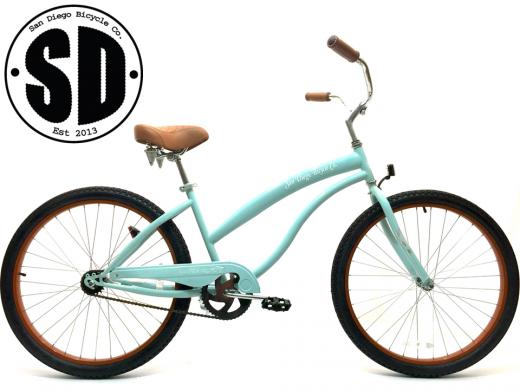 "Ladies Beach Babe Cruiser Misty Green w Brown Rims ""San Diego Bicycle Co"""