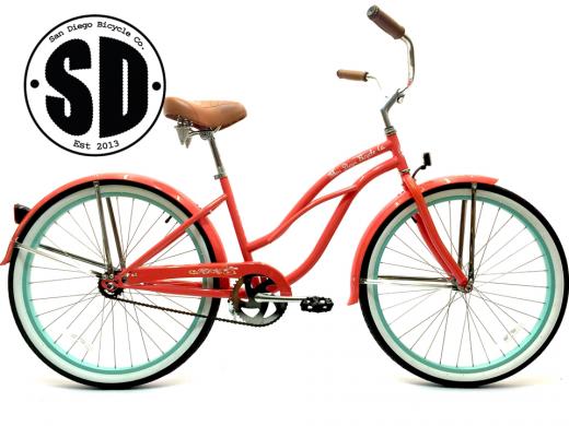 "Ladies Garnet - Coral w Sea Glass Rims ""San Diego Bicycle Co."""
