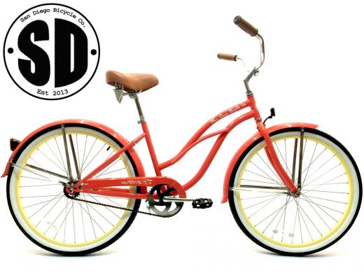 "Ladies Garnet - Coral w Vanilla Rims ""San Diego Bicycle Co."""