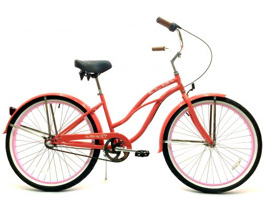 "Ladies Garnet 3 Speed Coral w Light Pink Rims ""San Diego Bicycle Co."""