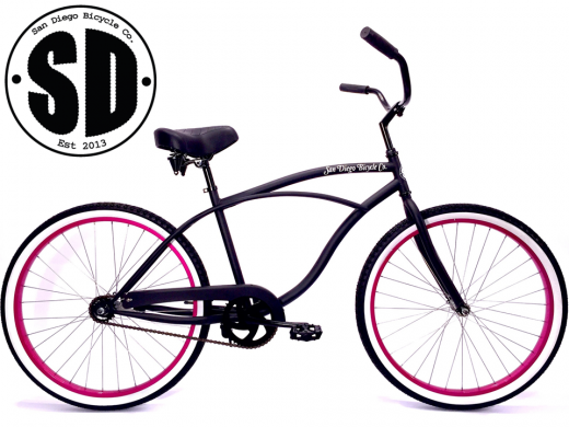 "Women's Garnet - Matte Black with Hot Pink White Walls ""San Diego Bicycle Co."""