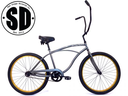 """Men's Garnet Chopper Glossy Grey w Gold """"San Diego Bicycle Co."""""""