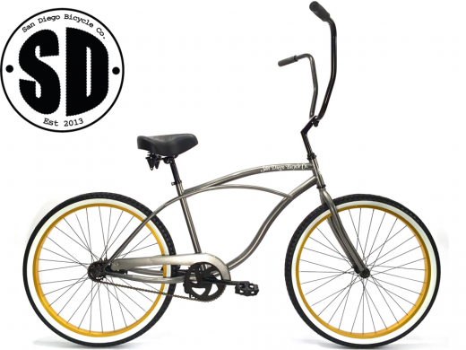 "Men's Garnet Chopper Glossy Grey w Gold White Walls ""San Diego Bicycle Co."""
