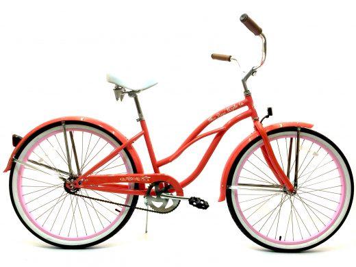 "Ladies Garnet - Coral w Pink Rims ""San Diego Bicycle Co."" Beach Cruiser"