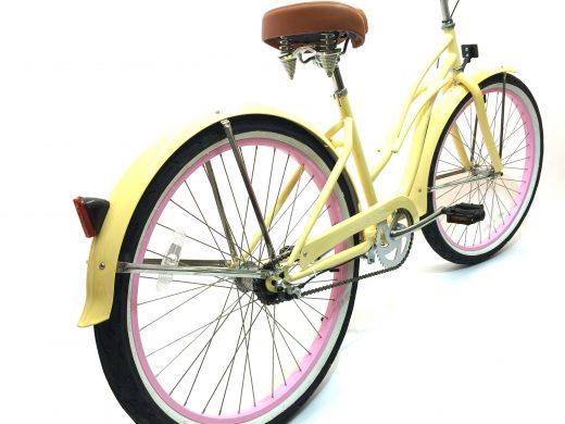 "Ladies Garnet 3 Speed Vanilla w Pink ""San Diego Bicycle Co."""