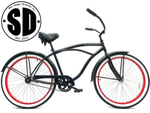 """Men's Garnet Matte Black w White Walls & Red Rims """"San Diego Bicycle Co."""""""