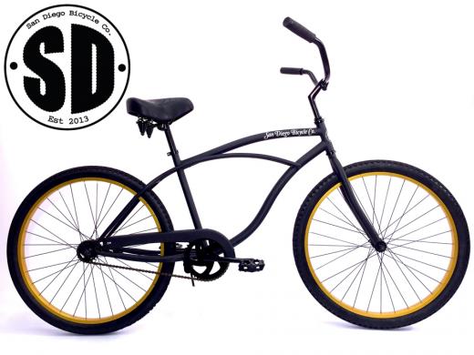 """Men's Garnet Matte Black w Gold Rims """"San Diego Bicycle Co."""""""