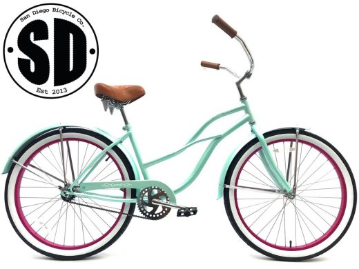 "Ladies Garnet - Sea Glass w Hot Pink ""San Diego Bicycle Co."""