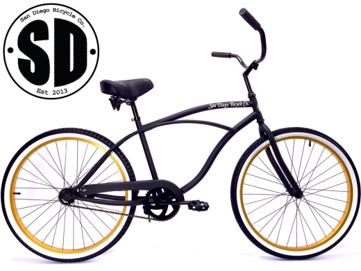 """Men's Garnet Matte Black w Gold Rims & White Walls """"San Diego Bicycle Co."""""""